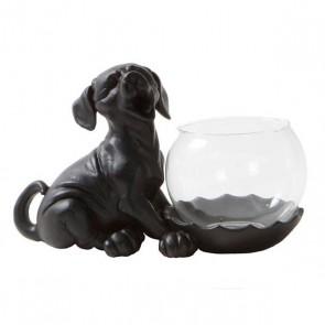 Waxinelichthouder Hond met glas