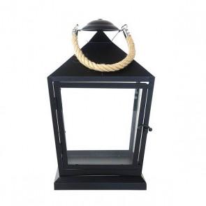 Lantaarn zwart met touw S